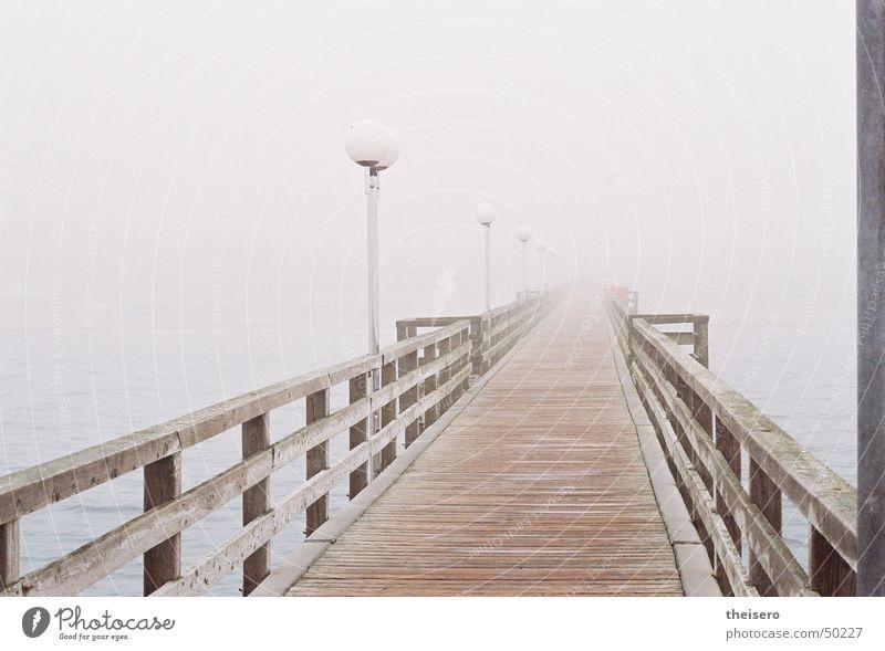 Water Ocean Loneliness Dark Wood Gray Coast Fog Empty Bridge Gloomy Lantern Footbridge Baltic Sea Handrail Bad weather
