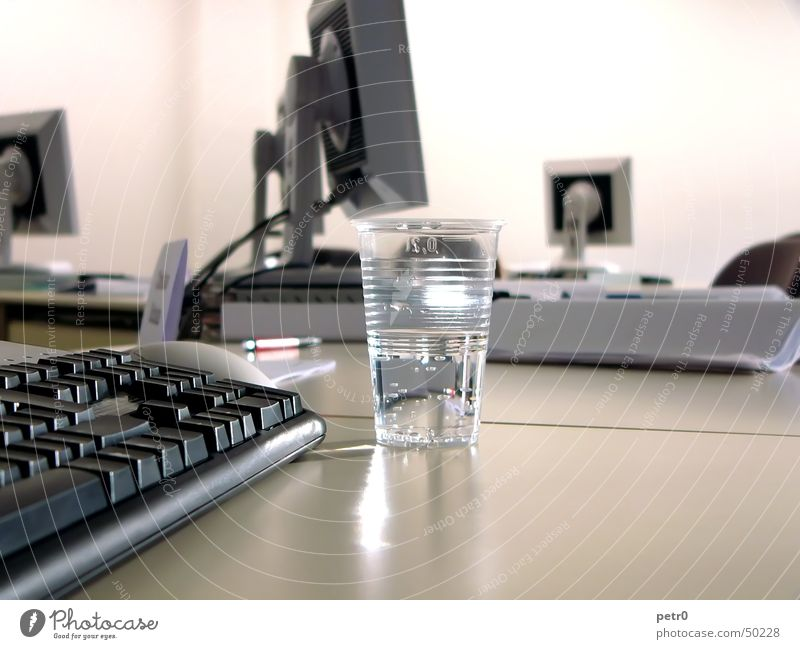 Seminar 01 Table Screen Thin film transistor Mug Plastic cup Light Bright Paper Water flatscreen Room depth blur Keyboard