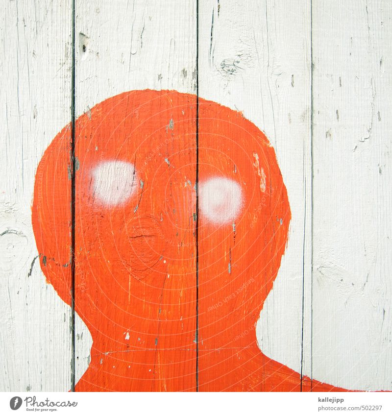 the little ghost sees red Human being Androgynous Child Baby Head Eyes Graffiti Looking Ghosts & Spectres  Face Illustration Red childish schema