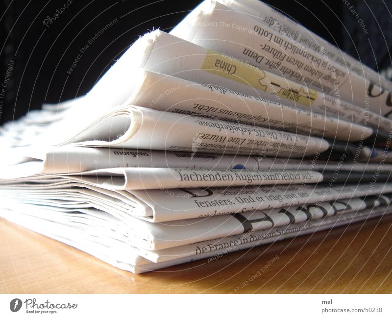 newspaper Newspaper Paper Wood Journalism Journalist Current Profile Stack Laughter Pressure Print media Printed Matter Close-up Business