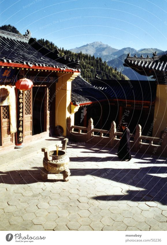 Taoist Monastery at Lake Bogda, Singkiang, China Clergyman Calm Far East Monk Mountain