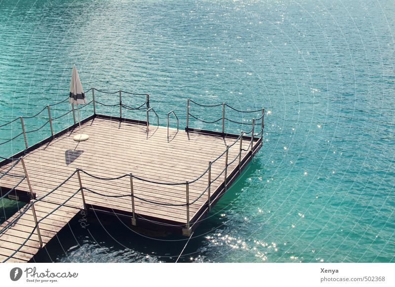 One vacation please! Vacation & Travel Summer Summer vacation Water Waves Lakeside Sunshade Swimming & Bathing Relaxation Blue Beach vacation Footbridge Calm