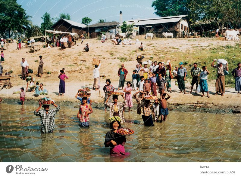 At the river Myanmar Human being River Contrast Colour