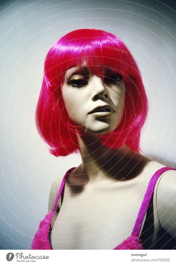 Miss Rigor Mannequin Wig Pink Hair colour Mock-up shocking colours Lomography