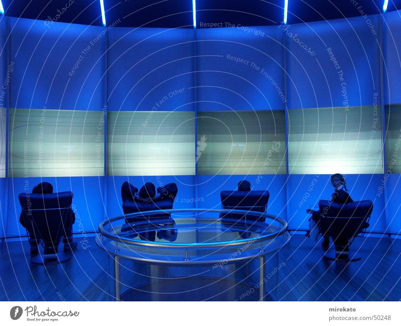 blue room Screen Armchair Relaxation Calm Acrylic Room Blue Human being Cool (slang) Architecture