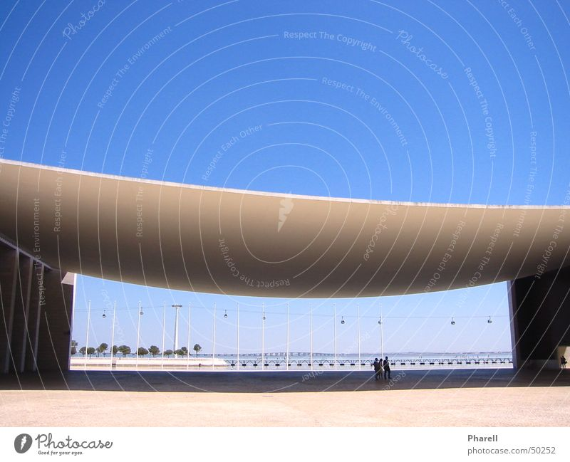 Sky White Sun Blue Summer Vacation & Travel Emotions Architecture Uniqueness Blanket Arch Lisbon Portugal Cable car World exposition