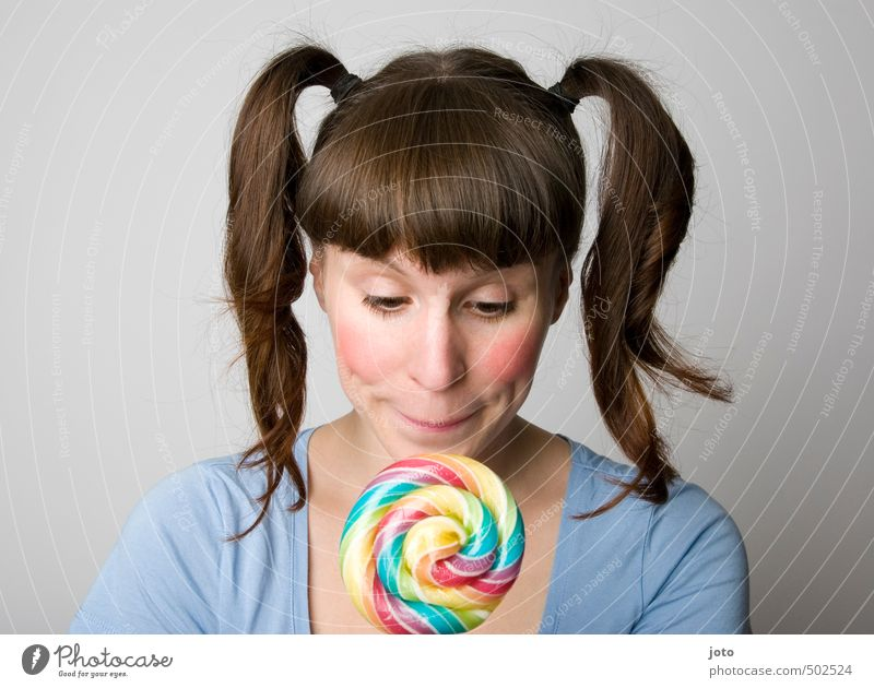 anticipation Candy Lollipop Nutrition Healthy Eating Birthday Young woman Youth (Young adults) Infancy Braids Happiness Happy Delicious Sweet Contentment