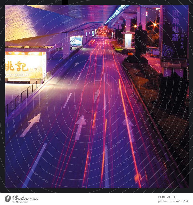 Shanghai Surprise Long exposure Highway Night Vehicle Traffic lane China Highway junction Street