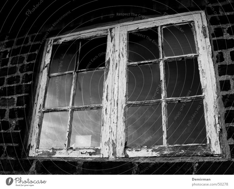 Old window Window Farm Reflection Black White Broken Clouds Wall (barrier) Brick Rust Black & white photo smashed Window pane