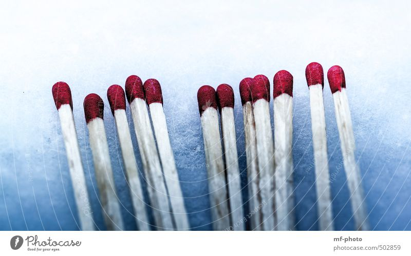 matches Decoration Wood Match Blue Red White Absorbent cotton Colour photo Interior shot Deserted