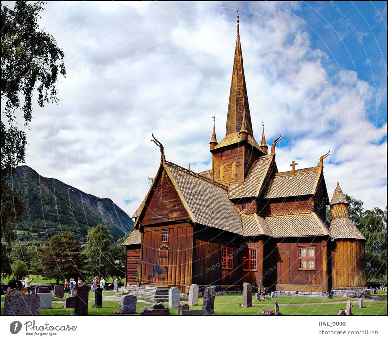 Stavkirke c Manmade structures Wood Clouds Grave Tombstone Grass Green Norway Scandinavia Historic Vikings Religion and faith Christianity Panorama (View) Roof