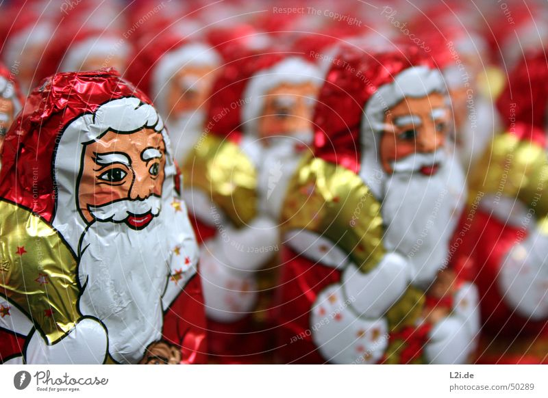 Army of Santa Clauses I Red White Sack Hand Aluminium Chocolate Christmas & Advent Gold Face eyes nose Mouth Star (Symbol) Metal Nutrition