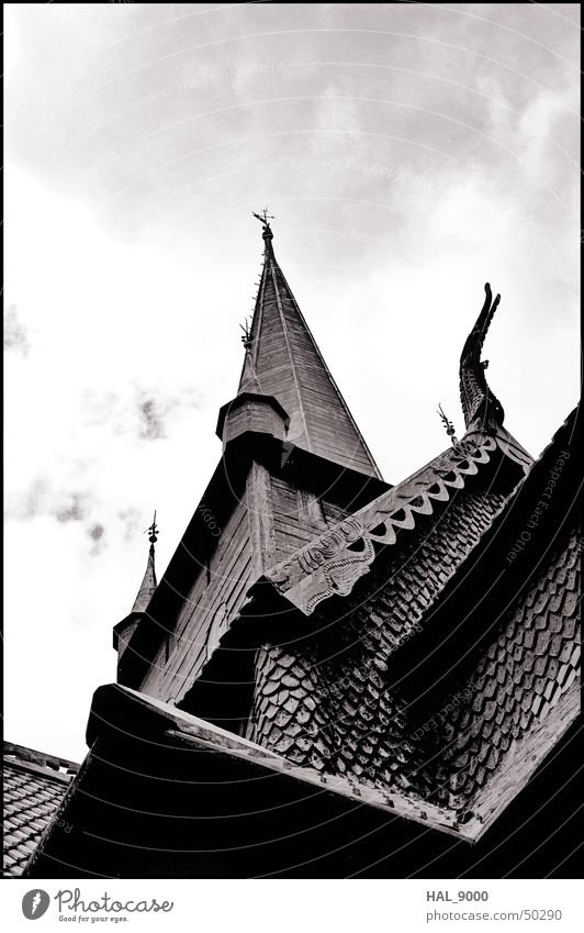 stavkirke detail Manmade structures Wood Clouds Norway Scandinavia Historic Vikings Religion and faith Christianity Roof Summer Under Worm's-eye view Deep