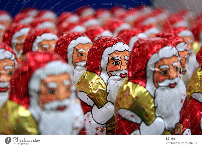 Army of Santa Clauses II Red White Sack Hand Aluminium Chocolate Christmas & Advent Gold Face eyes nose Mouth Star (Symbol) Metal Nutrition