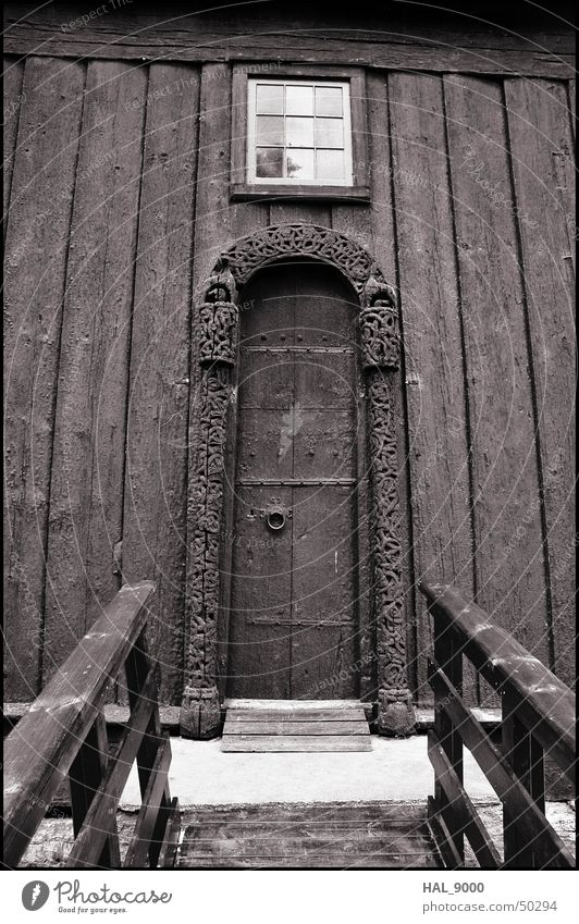stavkirke portal Manmade structures Wood Norway Scandinavia Historic Vikings Religion and faith Christianity Summer Worm's-eye view Deep Portal Window