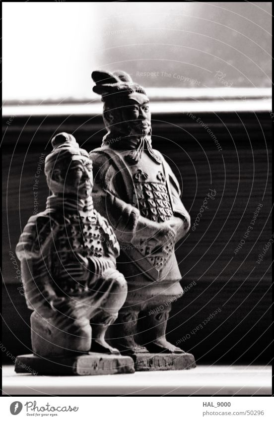 General and Archer Warrior Chinese China Terracotta Army Gray Black White Historic Knee Stand Style general Asia Medieval times Old Calm