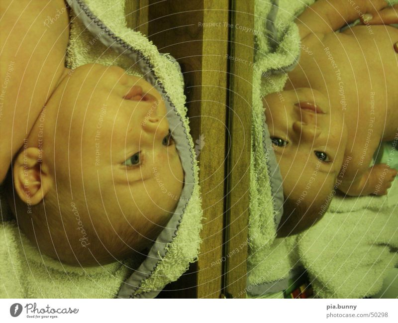 mirror play Mirror Baby 2 Twin Cute Double exposure
