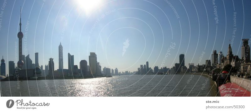 Water Sun Modern New River Skyline China Television tower Shanghai Port City Huang Pu river