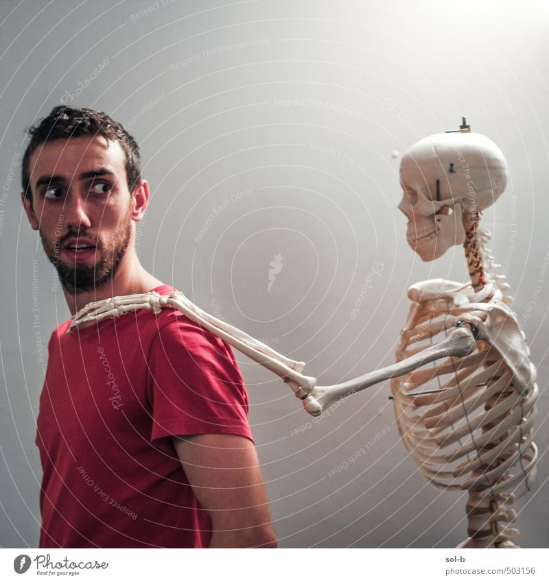 a friend in need Healthy Health care Illness Medication Human being Masculine Young man Youth (Young adults) Life Skeleton 1 18 - 30 years Adults Old Touch