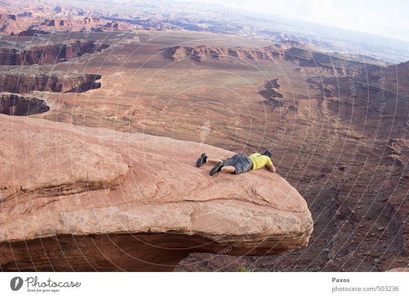 Nature Landscape Exceptional Lie Horizon Dangerous Threat Adventure Fear of heights Canyon Bravery Canyonlands National Park