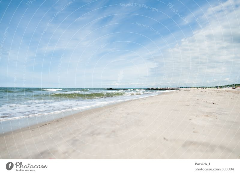 Baltic Sea Beach Ocean Waves Sand Water Sky Free Blue Purity Longing Wanderlust Germany White crest Recreation area Relaxation Colour photo Exterior shot