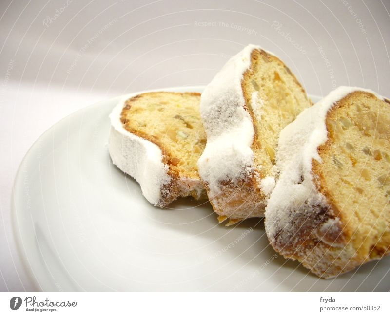mhhhh christmas! Cake Stollen Plate Confectioner`s sugar Bread Winter December Delicious Pensive Crockery Fragile Yellow White Dust Fine Christmas & Advent