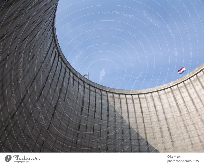 Water Sky Gray Concrete Circle Round Border Beautiful weather Hard Blue sky Nuclear Power Plant Cooling tower Steep face