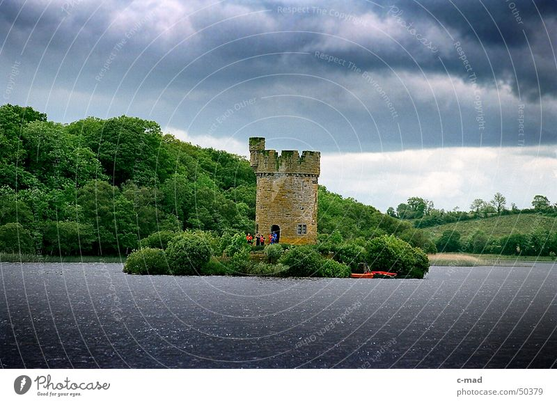 Tower at Crom Castle Northern Ireland Manmade structures Lake Clouds Forest Green Gray Summer River Water Construction site Upper Lough Erne