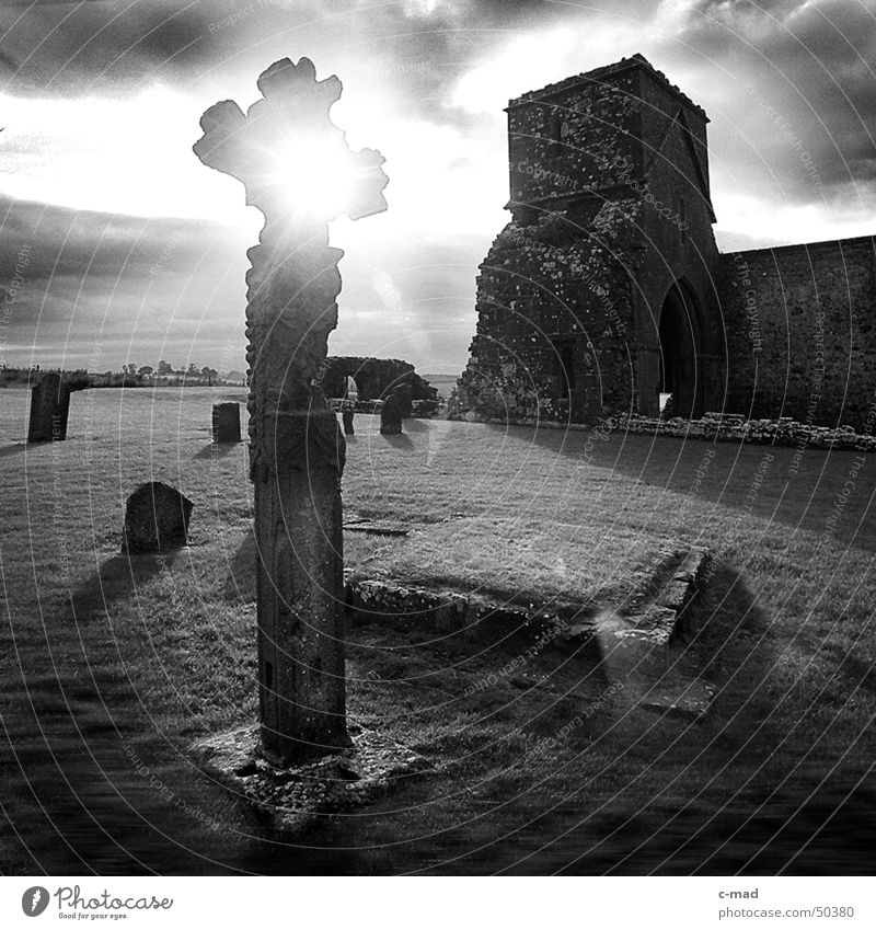 Cross on Dervenish Island Northern Ireland Manmade structures Ruin Celts Cemetery Grave Clouds Black White Summer Back-light River Tower Construction site