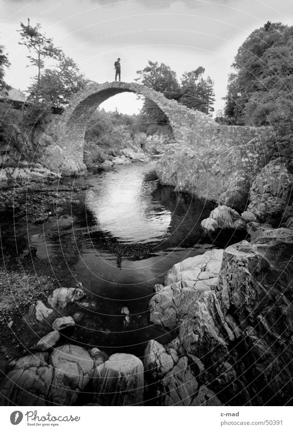 Bridge at Pitlochry Scotland Black White Summer Water Stone Landscape Sky Human being River
