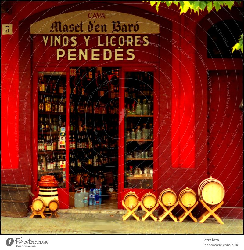 Red Spain Wine Store premises Bottle Entrance Vintage Shop window Food Beverage Alcoholic drinks Catalonia Wine cask