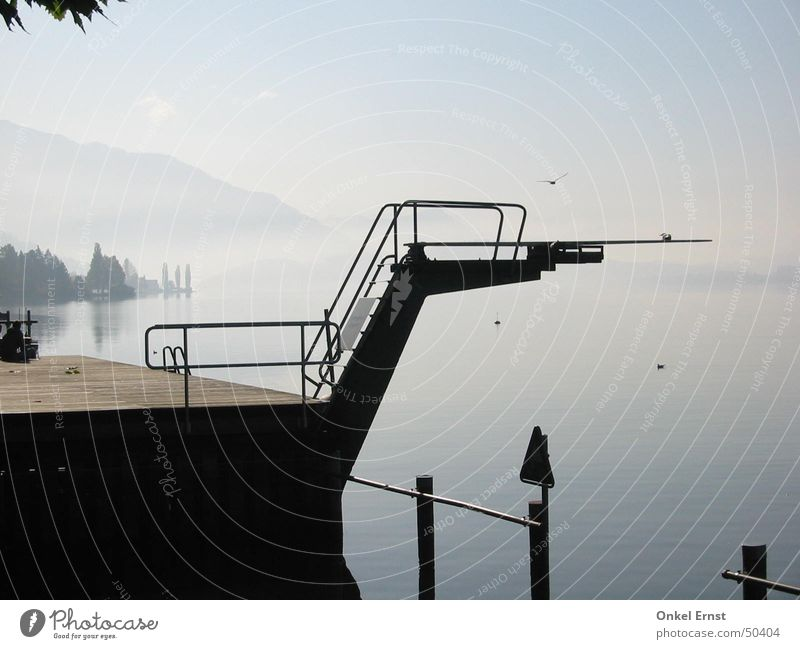 Nature Water Sky Calm Clouds Sports Jump Mountain Lake Bird Fog Tower Switzerland Paradise Springboard Open-air swimming pool