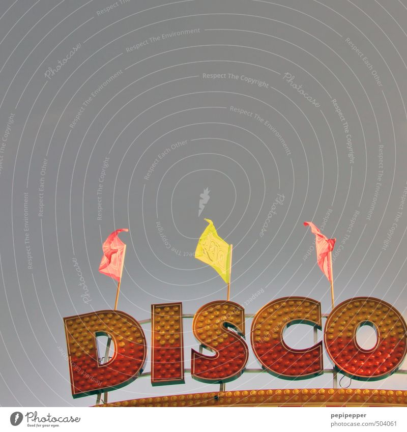 Red Yellow Building Feasts & Celebrations Party Music Glittering Dance Characters Retro Sign Flag Club Disco Disc jockey Ornament