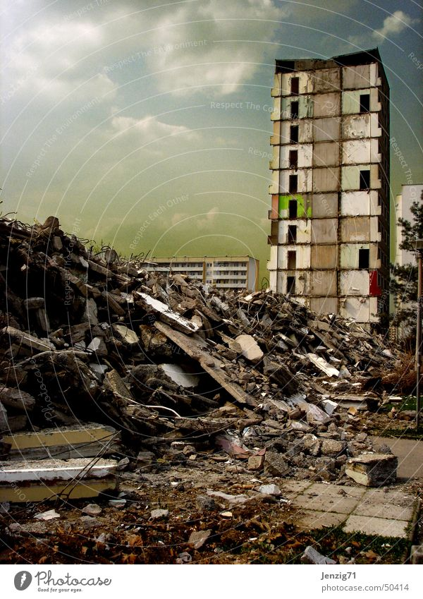 End time. Dismantling Construction site High-rise Block Tower block Prefab construction Building rubble Trash House (Residential Structure) Destruction