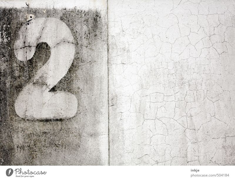 opened two thousand |1300 Deserted Wall (barrier) Wall (building) Facade House number Concrete Sign Digits and numbers 2 Old Broken Gloomy