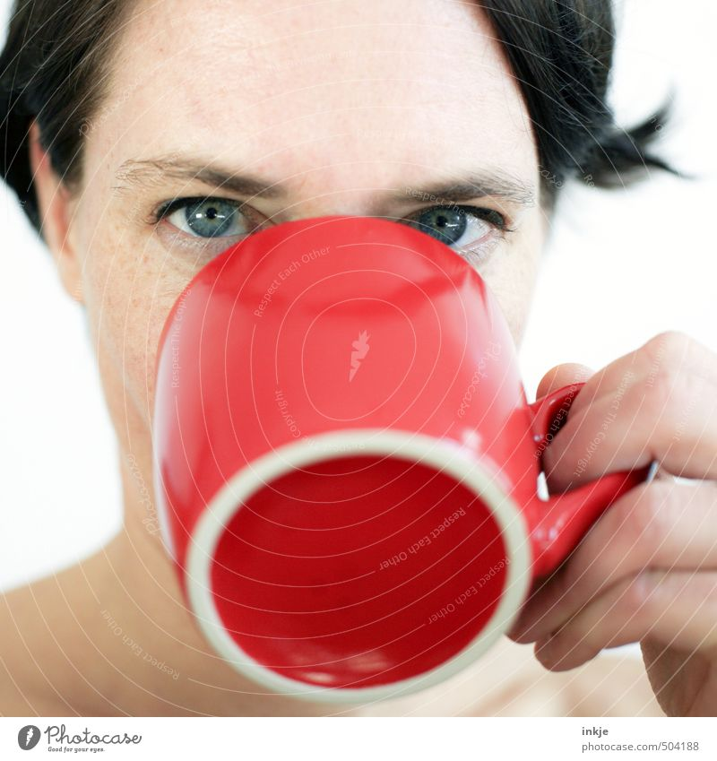 Woman drinking from red cup Breakfast Beverage Drinking Hot drink Milk Hot Chocolate Coffee Tea Cup Mug Lifestyle Adults Face 1 Human being 30 - 45 years