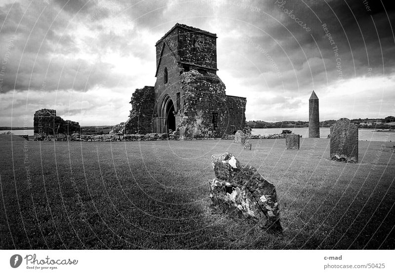 Monastery ruin on Derwenish Island B/W Northern Ireland Manmade structures Ruin Wall (barrier) Clouds Summer Grave Cemetery Black White Religion and faith