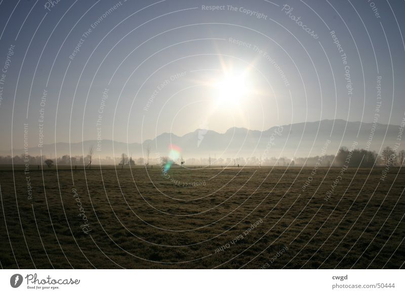 sun comes up, v2.0 Morning Field Sunrise Switzerland Austria Rhein valley Plain Rural Cold Exterior shot Mountain Blue sky Alps Frost frosty Pasture gets warmer