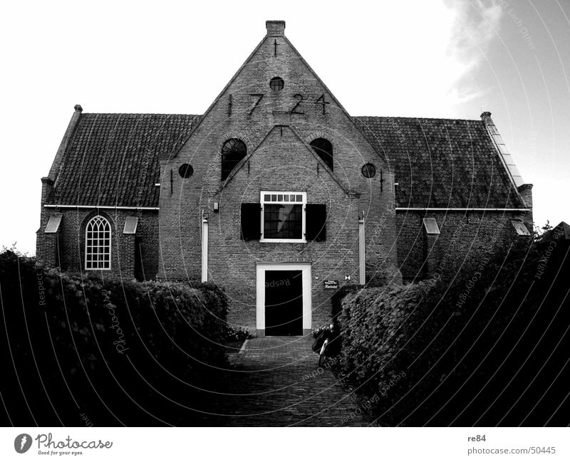 Contrast program 1721 House (Residential Structure) Gray Hedge Black White Derelict Complex Netherlands Class year Brick Roof Window Digits and numbers Shutter