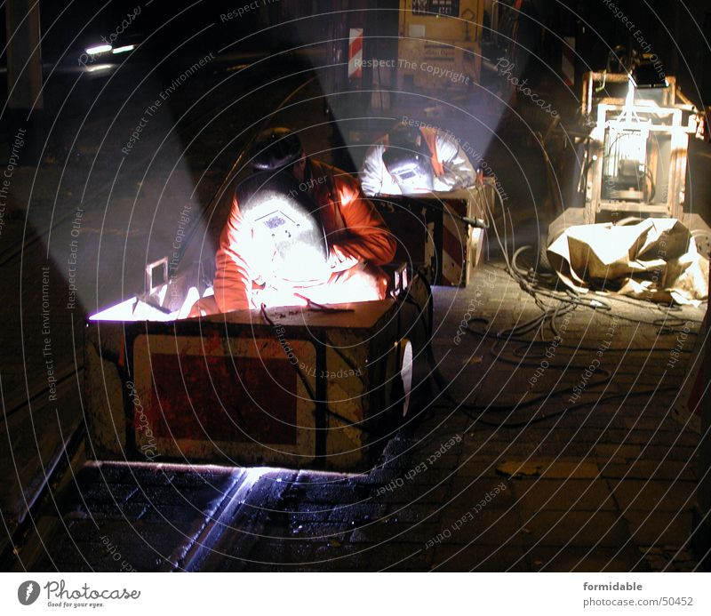 Man Street Dark Work and employment Couple Warmth Bright In pairs Protection Mask Physics Profession Hot Railroad tracks Narrow Effort