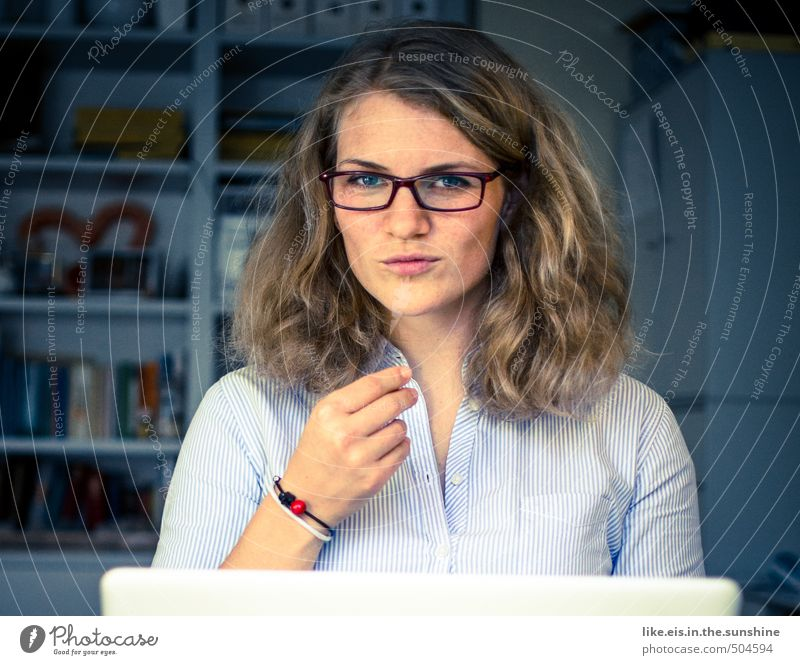 Human being Woman Youth (Young adults) Young woman 18 - 30 years Face Adults Eroticism Life Feminine Hair and hairstyles Head Work and employment Office Room Study