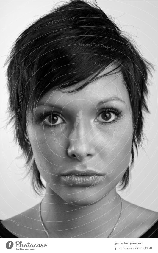 Less hard but still cordial part1 Woman Beautiful Surprise Amazed Frontal Motionless Audience Face Eyes Mouth Head Black & white photo Looking