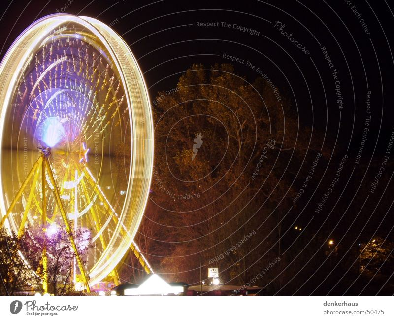 Dresden at night Night Light Long exposure Ferris wheel Rotation Rotate Fairs & Carnivals Dark Yellow Blue