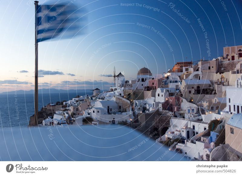...with flags flying Vacation & Travel Tourism Sightseeing City trip Summer Summer vacation Ocean Sky Oia Santorini Greece Village Small Town Port City Skyline