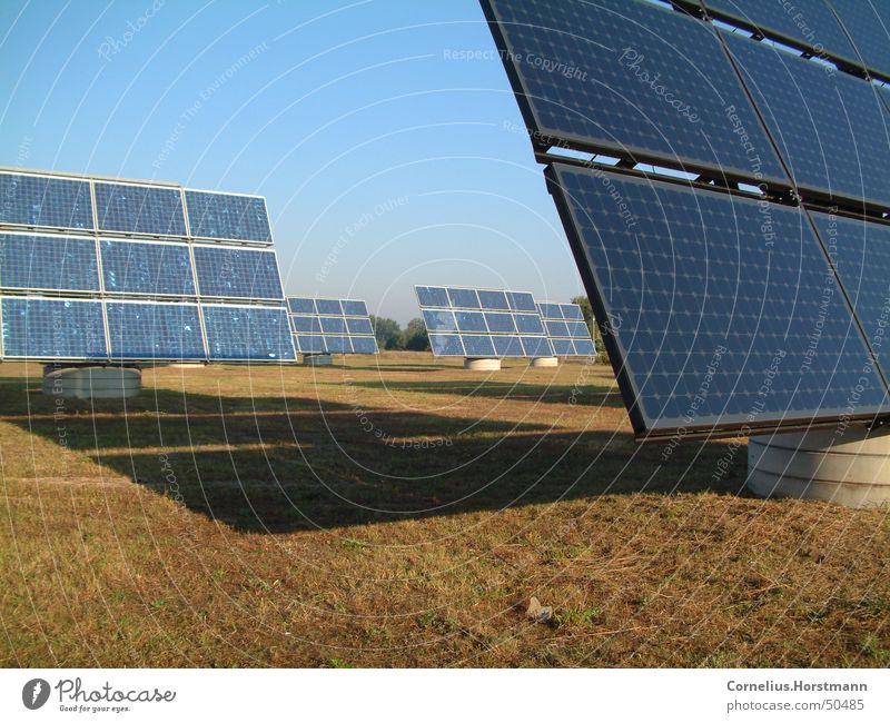 Solar-Field Colour photo Exterior shot Deserted Morning Day Shadow Sunlight Sunbeam Industry Energy industry Technology Renewable energy Solar Power Environment