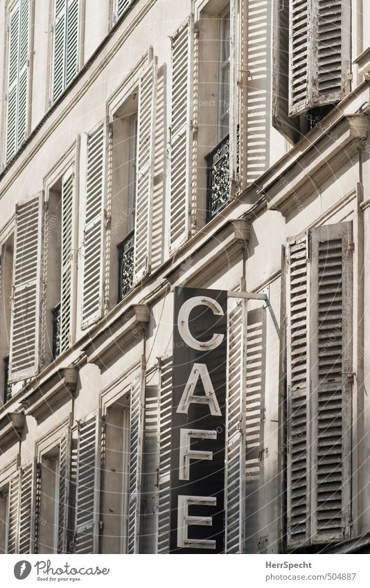 Old City White House (Residential Structure) Window Wall (building) Wall (barrier) Building Gray Facade Signs and labeling Characters Esthetic Tilt Café Paris