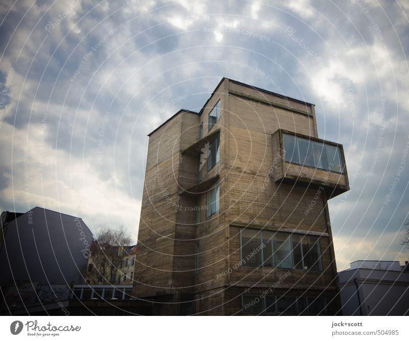 Sky Clouds House (Residential Structure) Winter Dark Window Architecture Building Facade Modern Climate Concrete Retro Culture Pure Trust