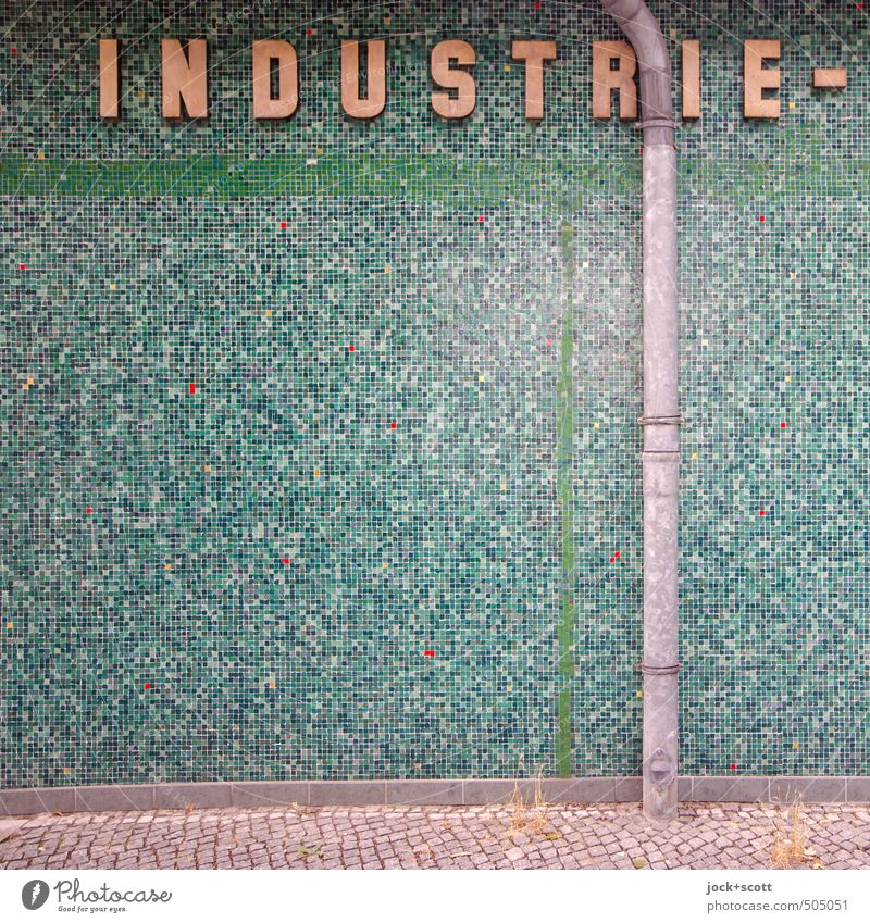 Green Wall (building) Lanes & trails Wall (barrier) Stone Line Metal Business Elegant Authentic Characters Industry Retro Many Network Sidewalk