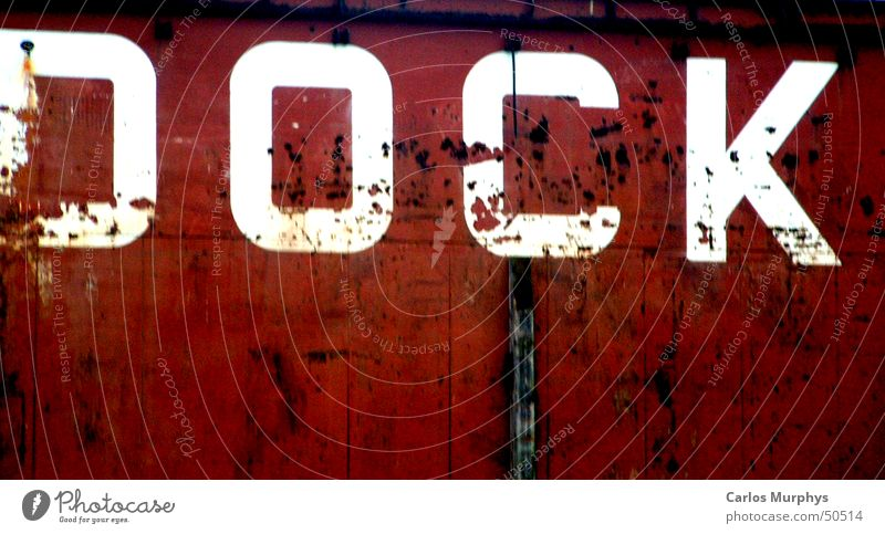 Signs of the times Red White Watercraft Dock Capital letter Letters (alphabet) Old Hamburg Harbour Characters Colour ship Printed Matter Harbour tour Shipyard