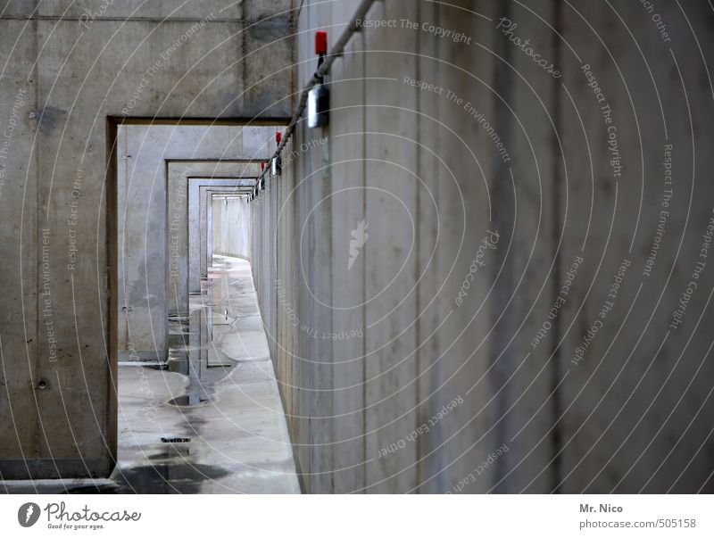 end in sight Tunnel Building Architecture Wall (barrier) Wall (building) Facade Loneliness Abstract Corridor Concrete Concrete wall Industrial plant
